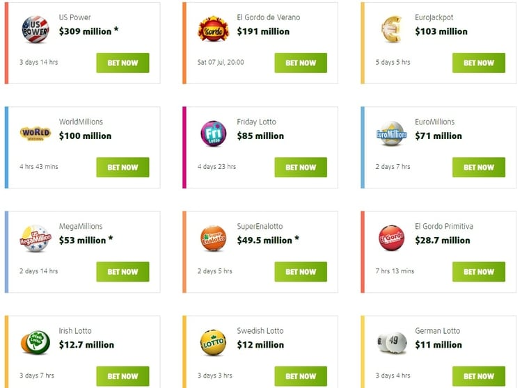 list of all available lotteries at lottoland