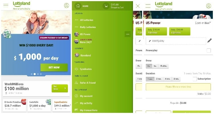 screenshot of lottoland mobile app interface