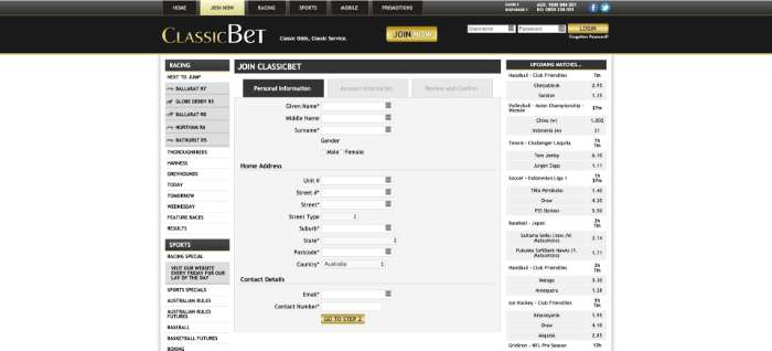 classicbet registration form