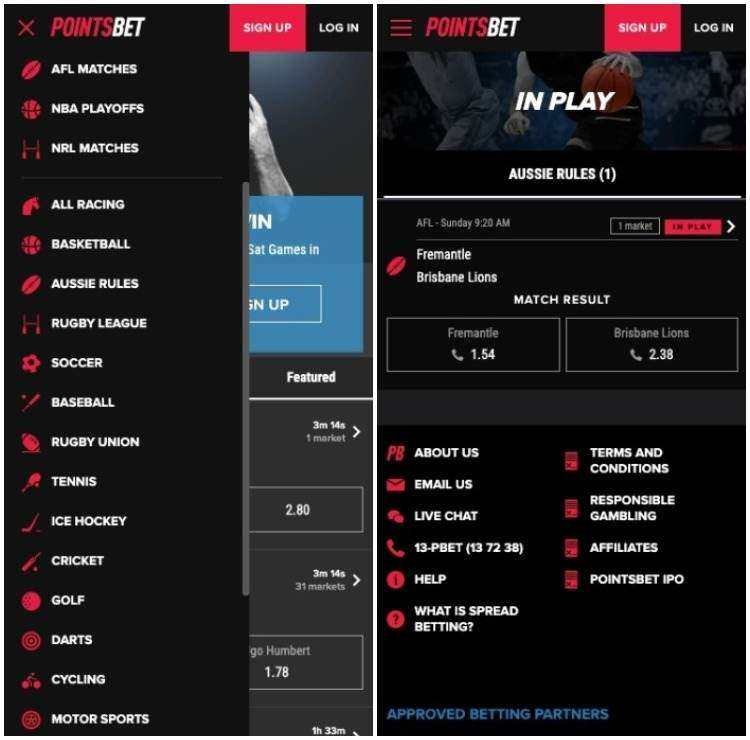 pointsbet mobile app interface example
