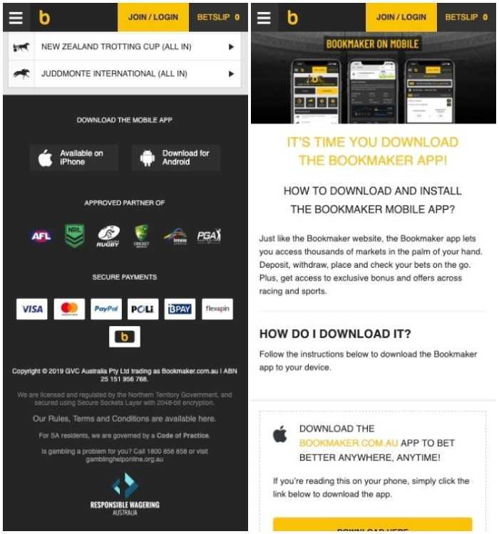 how to download bookmaker com au app