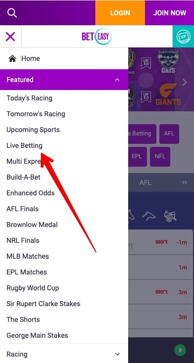 find in-play betting page