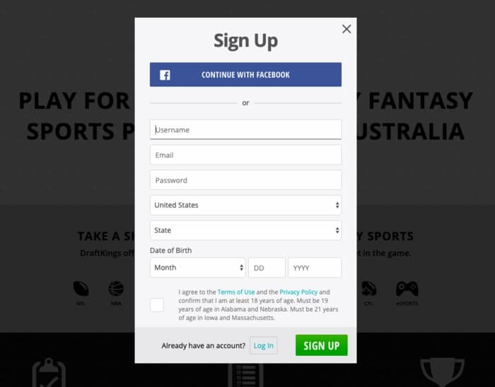 draftkings sign up form