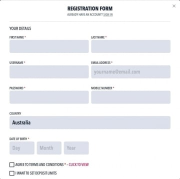 draftstars sign up form