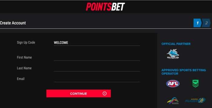 pointsbet sign up form