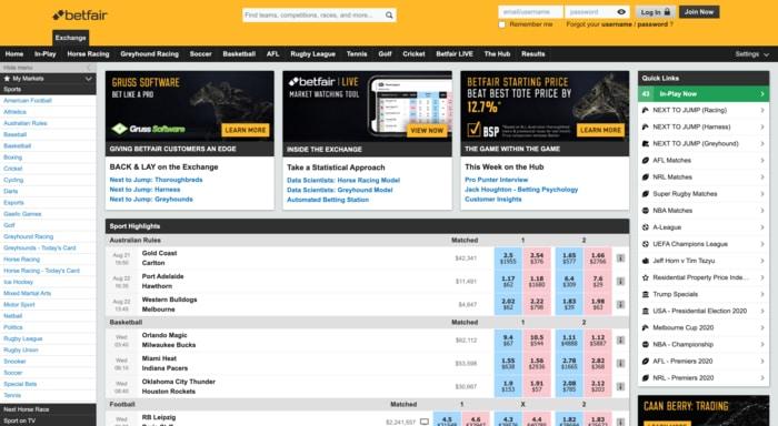 betting at betfair australia website