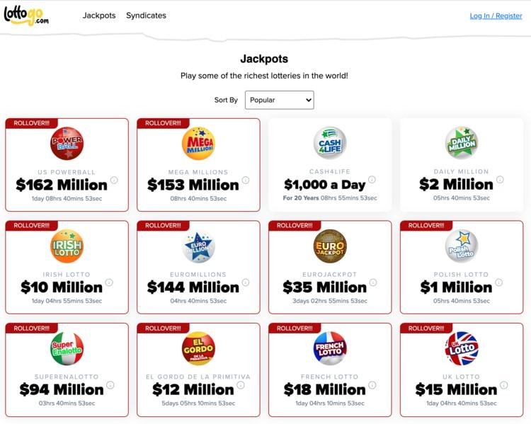 lottogo jackpots
