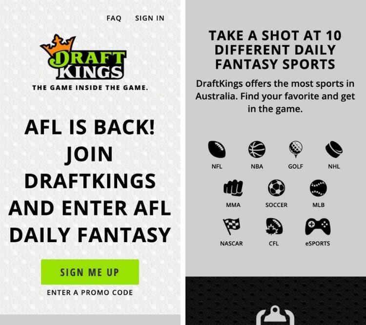 draftkings app homepage
