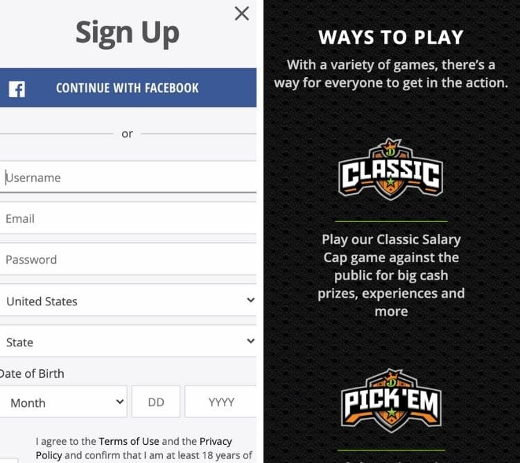 draftkings app sign up