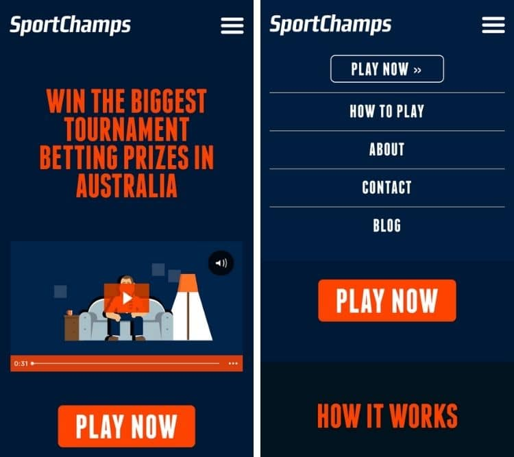 sportchamps app homepage