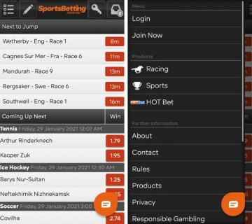sportsbetting app home page