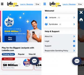 lottogo app home page