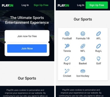the playon app home page