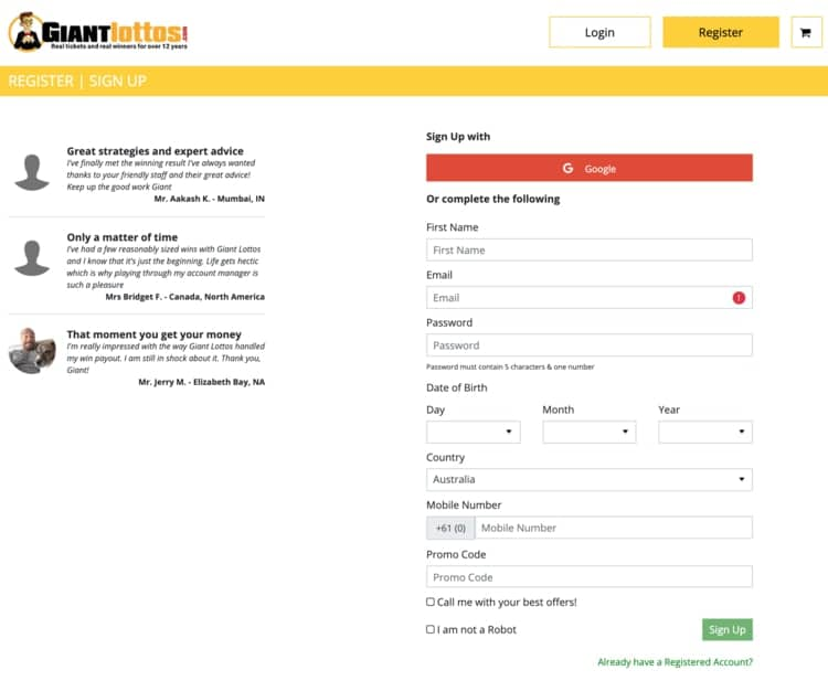 giant lottos sign up form