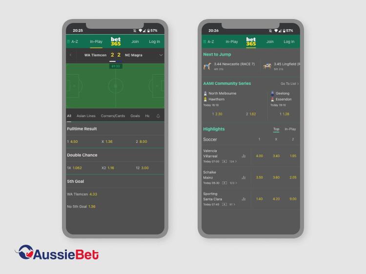 mobile screenshots bet365